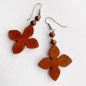 Wooden Boho Gypsy Light Leaf Shaped Long Earrings